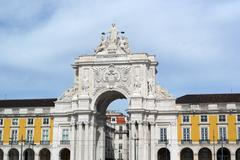 Augusta street arch, lisbon, portugal Stock Photos