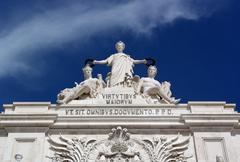 Augusta street arch, lisbon, portugal Stock Photos