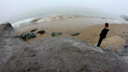 Stock Video Footage of Super wide angle - woman standing at waters edge
