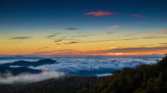 Early Morning Scene Overlooking with Fast Moving Mist on the Blue Ridge Parkway Stock Footage