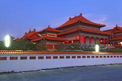 Chinese dragon temple in bangkok thailand at dusk Stock Photos