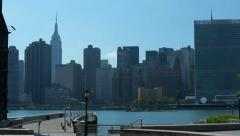 Slider Pan of NYC Skyline - Empire State Building, UN Stock Footage