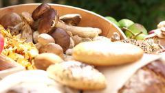 Mushrooms and bread - stock footage