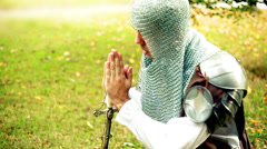 knight pray praying crusader crusades - stock footage