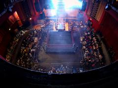 Pro Wrestling Ring in Arena - High Angle, Wide 02 Stock Photos