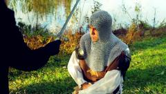being knighted knight sir sword - stock footage
