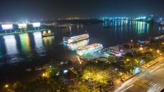 4k - SAIGON RIVER AT NIGHT  - HO CHI MINH CITY - VIETNAM Stock Footage