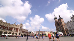 Krakow Old Town and Mariacki Church Stock Footage