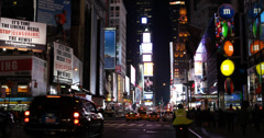 Ultra HD 4K Junction Broadway NYC Yellow Cab Bus Night Lights Times Square - stock footage