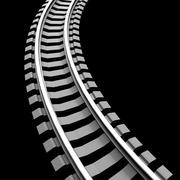 Stock Illustration of Single curved railroad track isolated