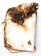 Burned paper .isolated on white background Stock Photos