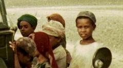 Aden Protectorate Bedouin children desert vintage HD - stock footage