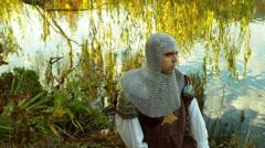 Handing knight sword hand off Stock Footage