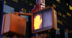 UHD 4K Stock Exchange Market Ticker Board Times Square Pedestrians Traffic Light - stock footage