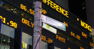 Stock Video Footage of Ultra HD 4K Stock Exchange Mrket Ticker Board Times Square Profit Display