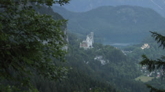 A distant view of the Neuschwanstein and Hohenschwangau Castles Stock Footage