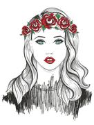 young girl fashion illustration - stock illustration