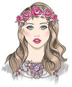 Young girl fashion illustration. girl with flowers in her hair Stock Illustration