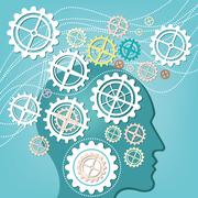 Brain of head and gear concept - stock illustration