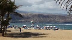 Beach of Las Palmas de Gran Canaria city Stock Footage