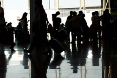 Outline silhouette of people at the airport NTSC Stock Footage
