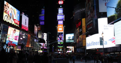 Ultra HD 4K Night Times Square New York City Busy Transportation Crowds Passing  Stock Footage