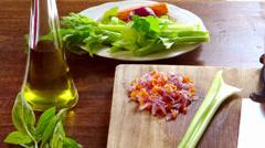 Cutting celery Stock Footage
