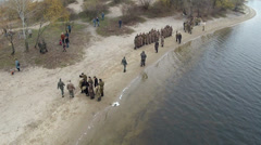 Reconstruction of  military scene period  1943 year  WW2 in Ukraine. Aerial - stock footage