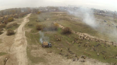 Reconstruction of  military scene period  1943  WW2 , Ukraine. Aerial  40. Stock Footage
