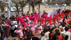Carnival time! Carnival of the sun at the beach of the Canteras Stock Footage