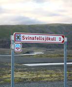 svinafellsjokull signpost - stock photo