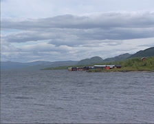 Sami fishing settlement at lakeside in glacial landscape near Kiruna, Sweden Stock Footage