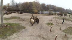 Reconstruction of  military scene period  1943 year  WW2 in Ukraine. Aerial  sce - stock footage