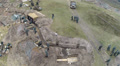 Reconstruction of  military scene period  1943 year  WW2 in Ukraine. Aerial  sce Footage