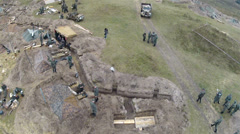 Reconstruction of  military scene period  1943 year  WW2 in Ukraine. Aerial  sce Stock Footage