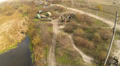Reconstruction of  military scene WW 2 in Ukraine. Aerial  scene Footage