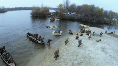 6Reconstruction of  military scene period  1943 year  WW2 in Ukraine. Aerial  sc Stock Footage