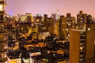 Stock Photo of aerial view at night, new york city