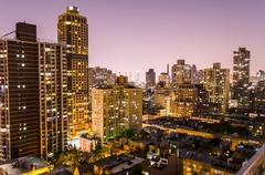 aerial view at night, new york city - stock photo