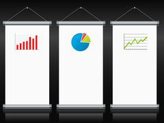 Roll up banners with charts and diagrams Stock Illustration