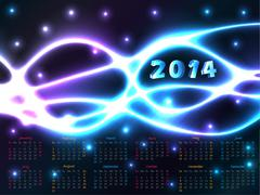 2014 calendar with plasma background - stock illustration