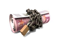 Rolled up and shackled euro notes standing Stock Illustration