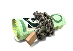 rolled up and shackled australian dollar notes standing - stock illustration