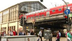 Train departing from the Station - Bahnhof  Friedrichstrasse, Berlin, Germany. Stock Footage