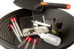 Together of tools for gold washing Stock Photos
