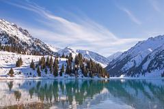 Winter Mountain Lake - stock photo