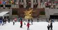 Ultra HD 4K NYC Landmark Ice Rink Skaters visit Rockefeller Center People Skate Footage