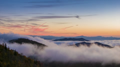 Vanilla Sky Morning with Fast Moving Mist in the Appalachain Mountains Stock Footage
