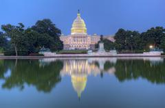 back of the united states capitol building and reflecting pool - stock photo