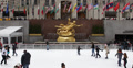Ultra HD 4K Tourists Skaters Rockefeller Center Christmas Holidays Ice Rink Footage